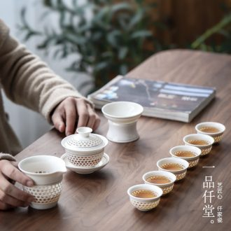 Yipin # $kung fu tea tureen suit household and exquisite hollow ceramic cups tea tea tray is contracted
