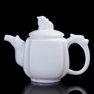 Friends commercial turn white porcelain tea pot of household ceramic tea set large manual suet white jade porcelain teapot China