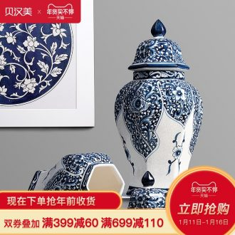 Jingdezhen ceramic storage tank is Chinese style household adornment ornament blue crackle glaze porcelain POTS