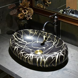 Black art stage basin oval European ceramic lavatory toilet lavabo sink basin