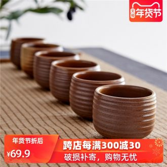 Household ceramics firewood retro kylix kung fu tea set tea cups hat to a cup of tea light cup 6 pack