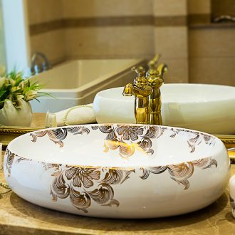 The oval art basin on its European creative household ceramic lavatory toilet lavabo water basin