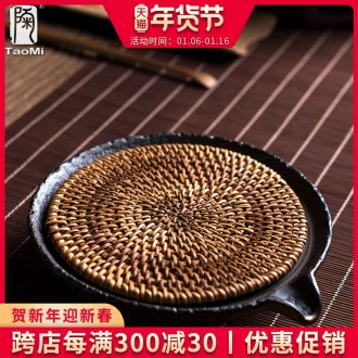 Tao fan one pot of gold bearing coarse pottery contracted tea tray ceramic water tray tea archaize storage disc dry terms
