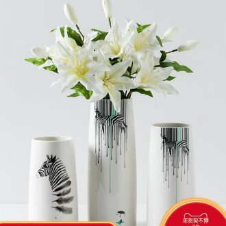 Small pure and fresh and vase is I and contracted ceramic vases, living room table flower arranging the dried lily home furnishing articles