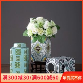 Jingdezhen ceramic furnishing articles I household storage tank with cover large sitting room to receive tank decoration soft adornment is placed