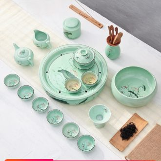 The Household of Chinese style longquan celadon hand - made lotus ceramics kung fu tea set teapot teacup tea tray was I and contracted
