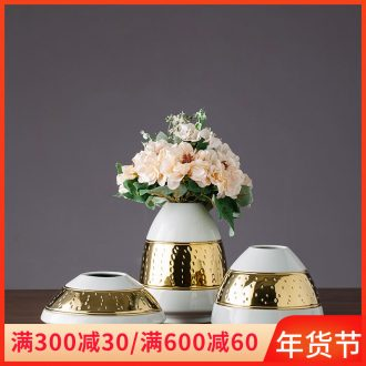 Jingdezhen ceramic vase furnishing articles gold - plated European - style simulation home sitting room decorates porch TV ark, flower arranging flowers