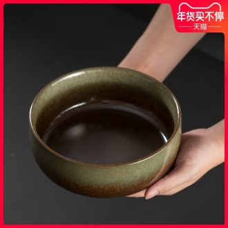 Japanese style restoring ancient ways of coarse pottery tea wash water jar suit large ceramic water built in hot water cylinder kung fu tea set with parts