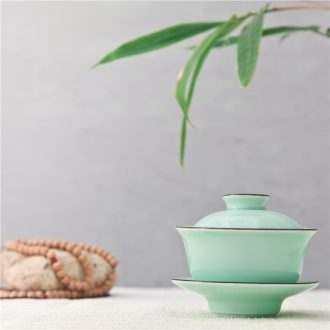 Longquan celadon kongfu tea carp fish tureen ceramic cups little bowl three cups of tea bowl to tea cups