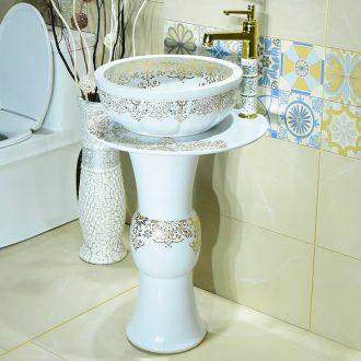 Toilet lavatory basin of simple art pillar lavabo ceramic floor balcony a whole basin