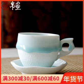 Jingdezhen ceramic glaze coffee cup of Europe type tea cup with dish Chinese flow disc of the sitting room tea room office idea