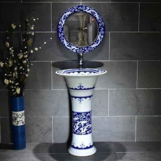 Lavabo ceramic column basin floor of small family toilet stage basin integrated art basin sink the lavatory