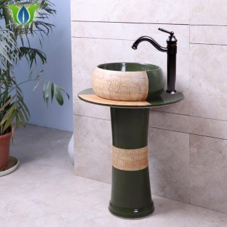 Lavabo cylindrical ceramic column type contracted household art integrated small family floor to wash face basin