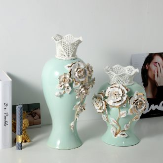European - style key-2 luxury blue see colour rose vase furnishing articles jingdezhen ceramic creative home sitting room flower arranging flowers