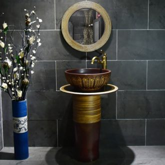 Ceramic basin of pillar type washbasin hand - carved archaize seaweed pillar of small family toilet floor for wash gargle