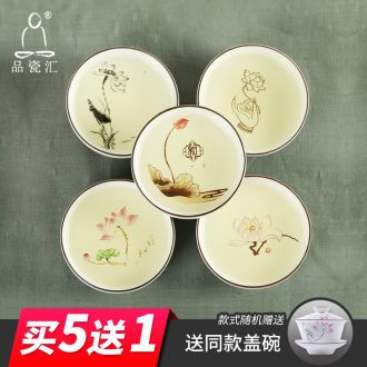 The Sample tea cup jingdezhen coarse pottery hand - made flat bowl tea kungfu ceramic cups zen master cup creative cup