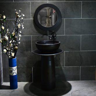 Ceramic basin of pillar type washbasin hand - carved black line pillar of small family toilet floor for wash gargle