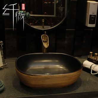 Retro basin elliptical ceramic art square table table face basin sink basin that wash a face the pool that wash a face