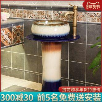 Jingdezhen basin column vertical lavatory ceramic basin integrated combination of European toilet pillar floor trumpet