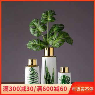 Hand made green leaves gilded ceramic bottle household act the role ofing is tasted furnishing articles porcelain bottle of jingdezhen ceramic ornaments the cut flower
