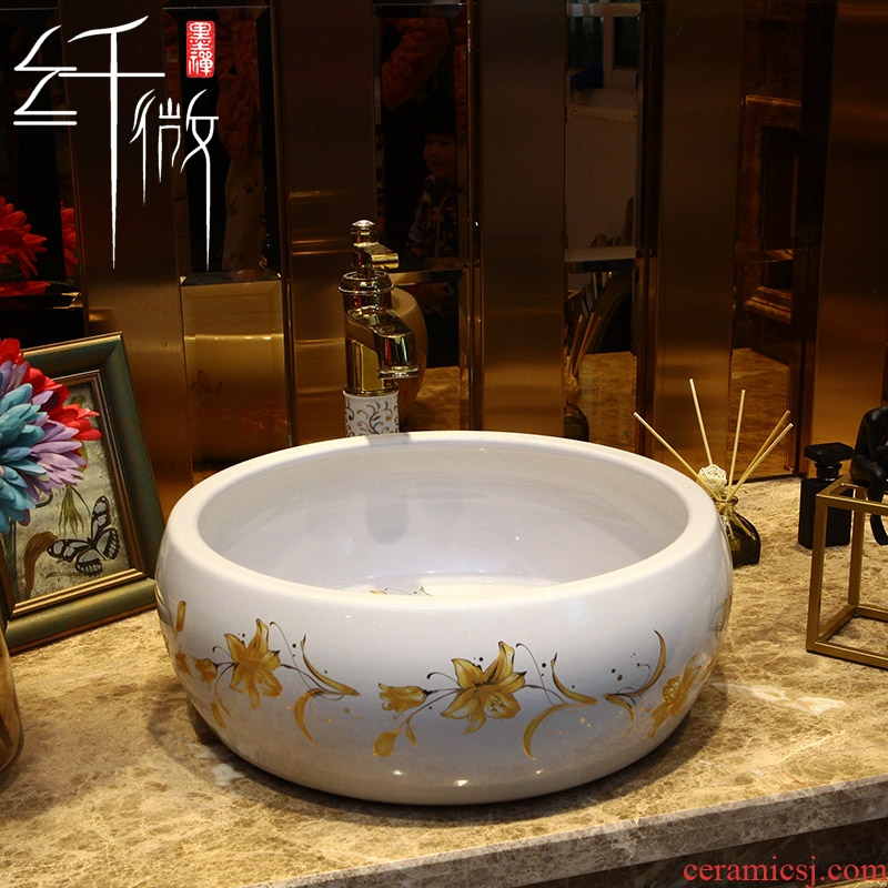 Round Europe type lavatory basin stage basin of the basin that wash a face for jingdezhen ceramic lavabo is contracted