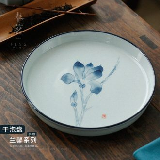 Serve tea jingdezhen hand - made orchid pot bearing the ancient celadon kung fu tea set ceramic pot dry blister tray of the teapot tea tray