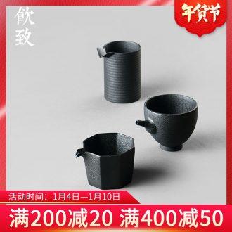 Ultimately responds to fair keller of black large Japanese zen wind and large capacity of tea rough sea jingdezhen ceramic points of tea, tea sets
