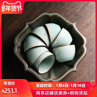 The elder brother of The longquan celadon up tire iron tea wash washing slag bucket built large ice crack ceramic cup water tea accessories washing water jar
