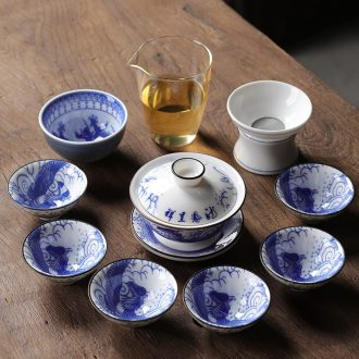 Blue and white porcelain suet jade suit household kung fu tea set porcelain of a complete set of I and contracted tureen ultimately responds tea pot