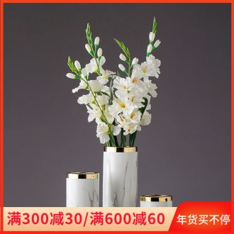 Imitation marble gold - plated flower modern flower arrangement furnishing articles home decoration ceramic dry flower flower floral arrangements