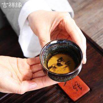 Auspicious edge home to the Chinese zodiac become kung fu tea cups masterpieces ceramic bowl built red glaze, the main personal single CPU