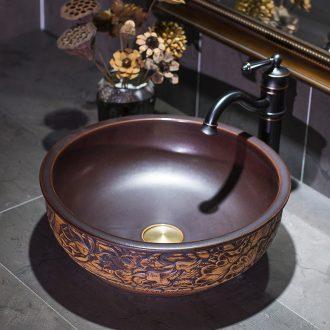 Jingdezhen stage basin to round on the sink basin ceramic art basin bathroom wash basin