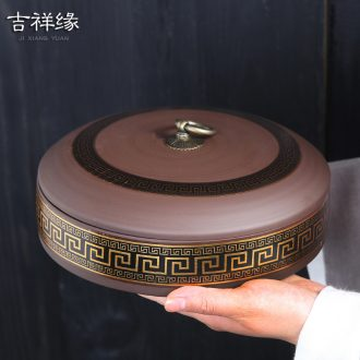 Violet arenaceous caddy fixings to large number of pottery and porcelain to wake put POTS white tea 357 grams of puer tea cake tin tea tea package box