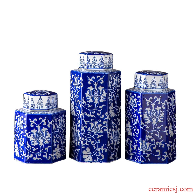 Blue and white porcelain jar with cover jingdezhen ceramics home furnishing articles household large storage tank sitting room adornment