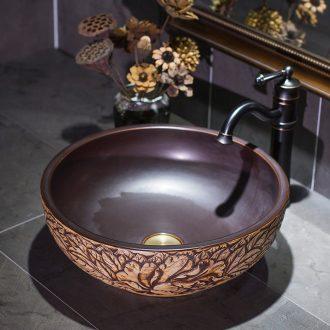 Ceramic art basin on its small size European peony circular household lavatory toilet sink basin