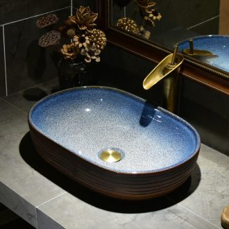 The stage basin sink oval ceramic basin small household bathroom sinks American art continental basin