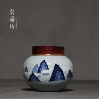 YanXiang fang ceramic landscape caddy fixings seal xiangyun restoring ancient ways round caddy fixings household