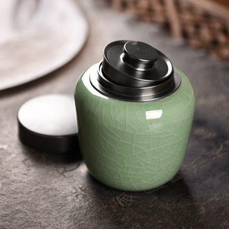 Longquan celadon porcelain tea caddy fixings warehouse household travel portable large metal seal pot pot of tea packaging
