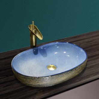 Ceramic art stage basin sink oval retro toilet wash gargle lavatory basin household balcony