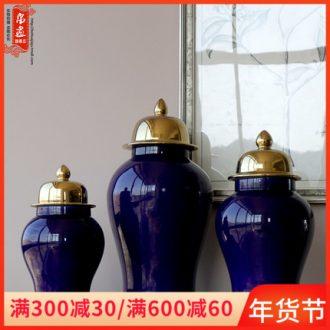 General jingdezhen ceramic pot vase color glaze gold - plated silver cover home decoration flower arranging furnishing articles storage tank is the living room