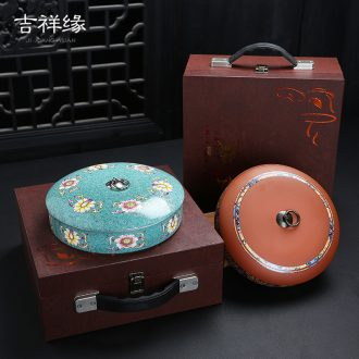 Pu 'er tea box packing box of high - grade empty box violet arenaceous caddy fixings ceramic solid wood gift boxes tea cake tin