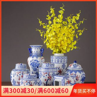 Jingdezhen porcelain ceramic vase home sitting room place, a large storage tank with cover flower arrangement of blue and white porcelain ornaments