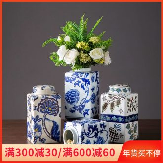 Jingdezhen ceramic vase furnishing articles storage tank with cover home sitting room desk flower arranging decoration decoration ideas