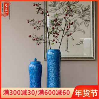 Jingdezhen ceramic vase furnishing articles blue anaglyph sitting room home flower adornment fashion creative housewarming gift