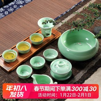 Household longquan celadon carp fish, goldfish ceramic kunfu tea tea set the teapot tea cups with Chinese style