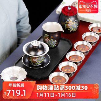 Jingdezhen tea set home tasted silver gilding kung fu tea tureen ceramic cups tea art office Chinese style restoring ancient ways