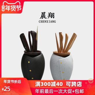 Chen xiang ceramic tea six gentleman kung fu tea sets accessories ChaGa black TanMengZong bamboo tea taking