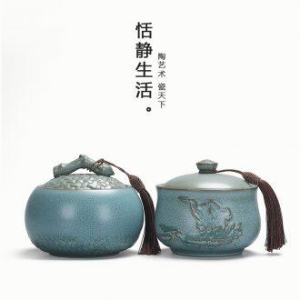 Up with ceramic tieguanyin tea pot half jins seal storage POTS medium moisture green tea pu 'er tea pot