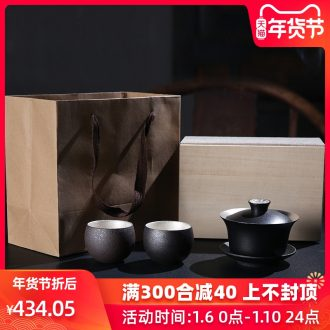 Tasted silver glaze porcelain remit blessing tureen tea sets ceramic three bowl not gift kung fu tea cups