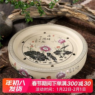 Household utensils ceramic purple sand coarse pottery circular circle water kung fu tea tray was single ship tea tea tea set Japanese sea